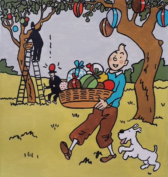 Tintin And Milou Snowy Happy Easter Painting Tintin By Cansupo