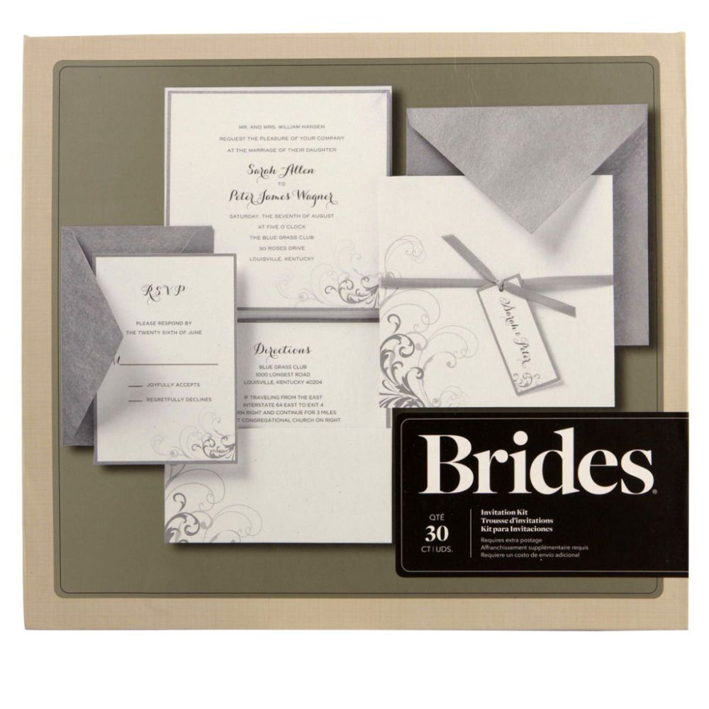 Wedding Invitations Kit: Brides® Silver And White Pocket Invitation Kit