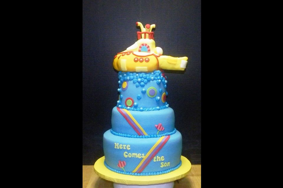Here Comes The Son Yellow Submarine Baby Shower Cake Almond Cake