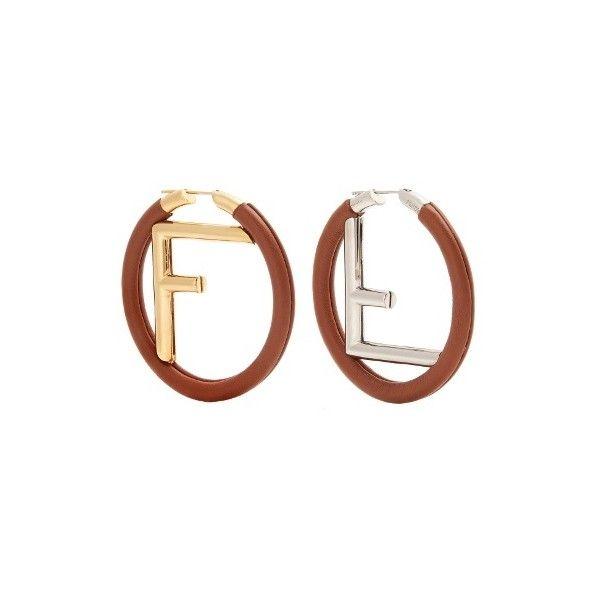 Fendi Logo leather hoop earrings m6x822JzLg