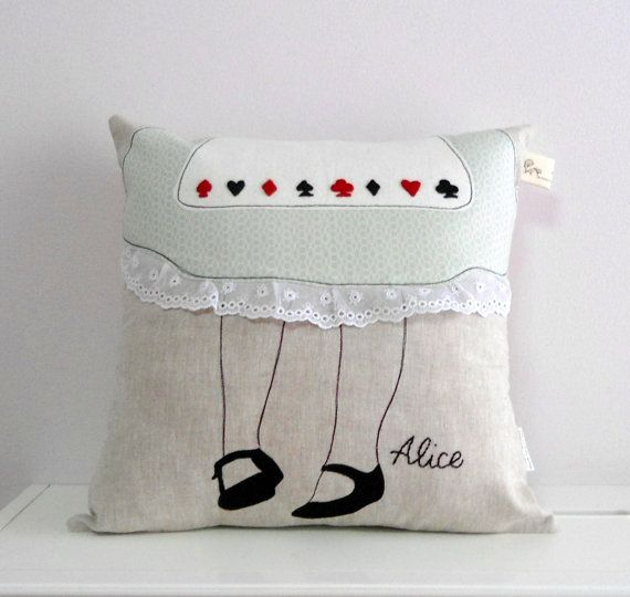 Alice In Wonderland Decorative Throw Pillow Linen Lace