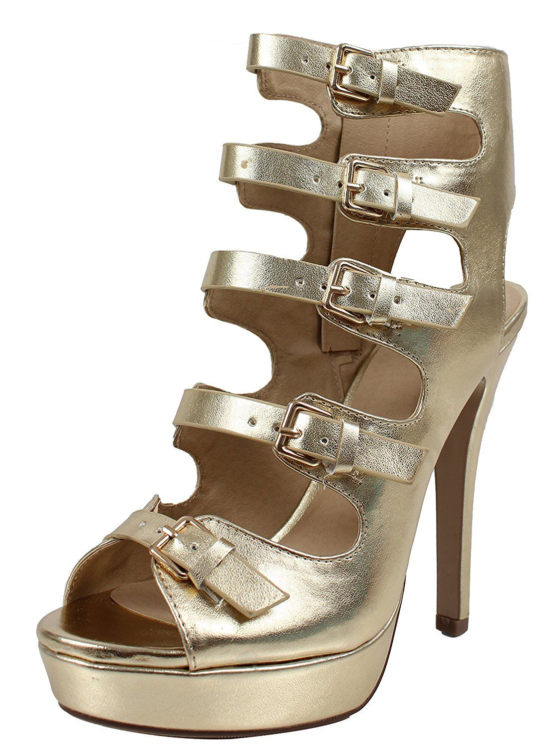 8247434830d Delicious Women s Open Toe Multi Strappy Open Back Platform High Heel  Sandals    Click on the image for additional details. (This is an affiliate  link)   ...