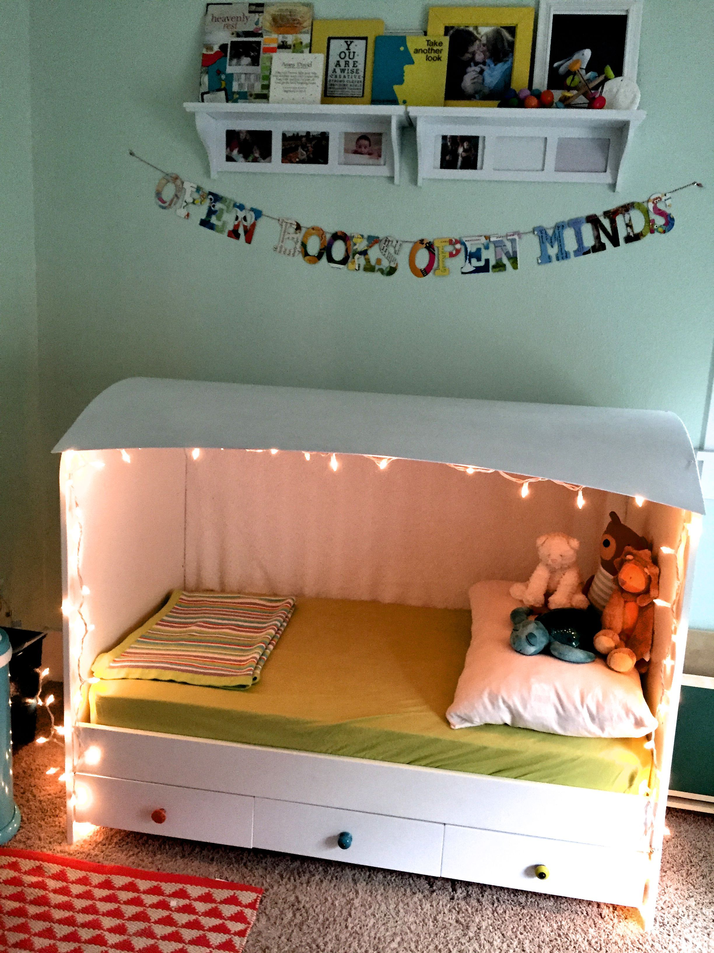 Turn crib into toddler loft bed  We had an IKEA crib and our little guy has grown out of it but I