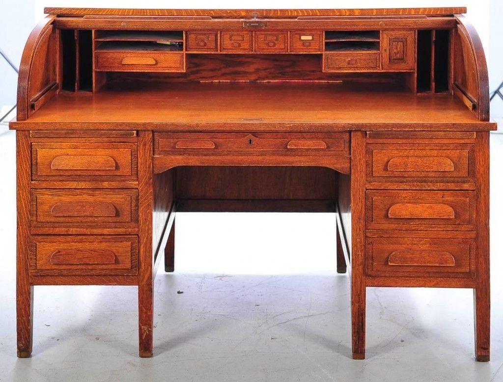 Oak Craft Roll Top Desk