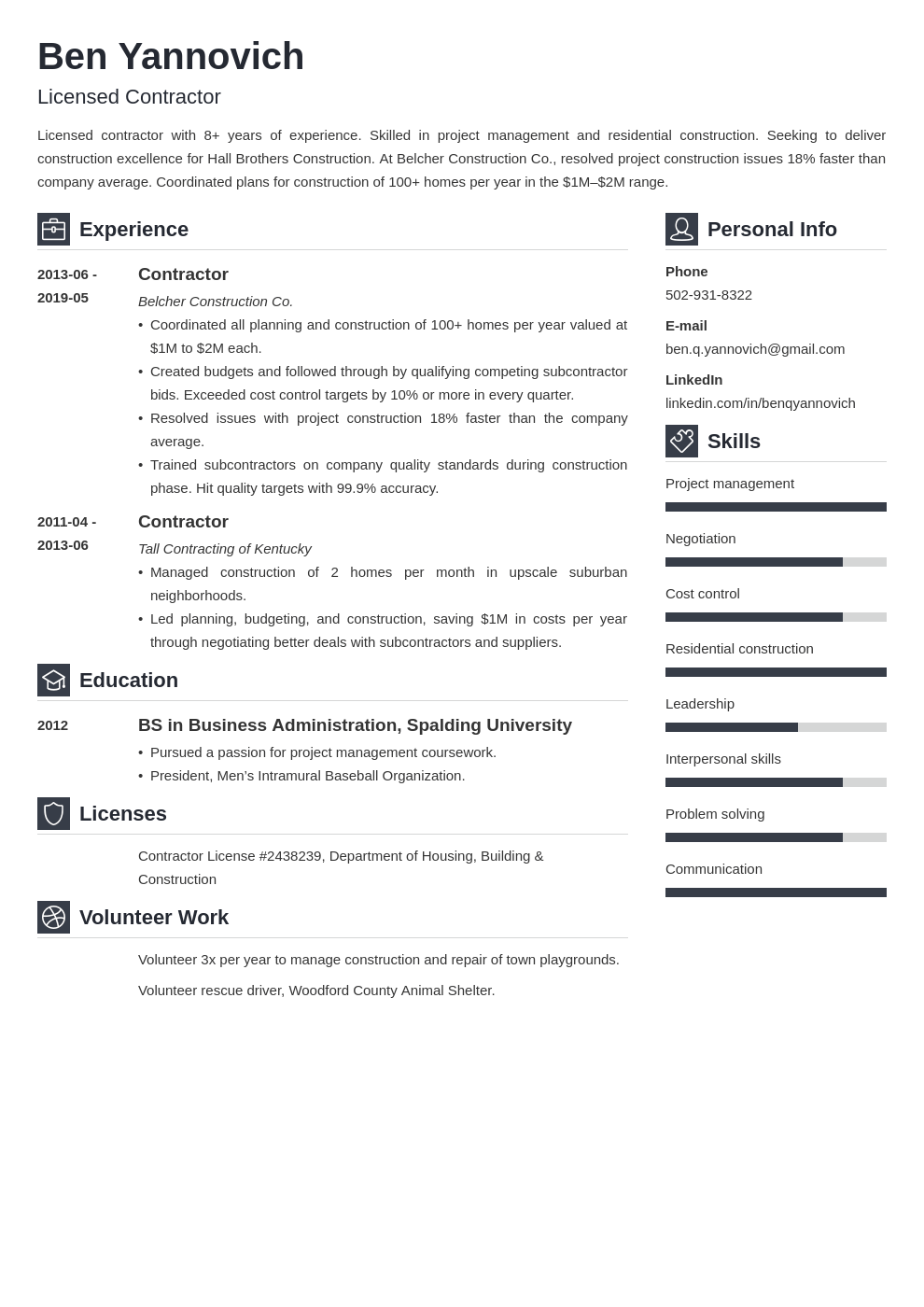 Contractor Resume Example Template Vibes Teacher Resume Examples Resume Examples Job Resume Examples