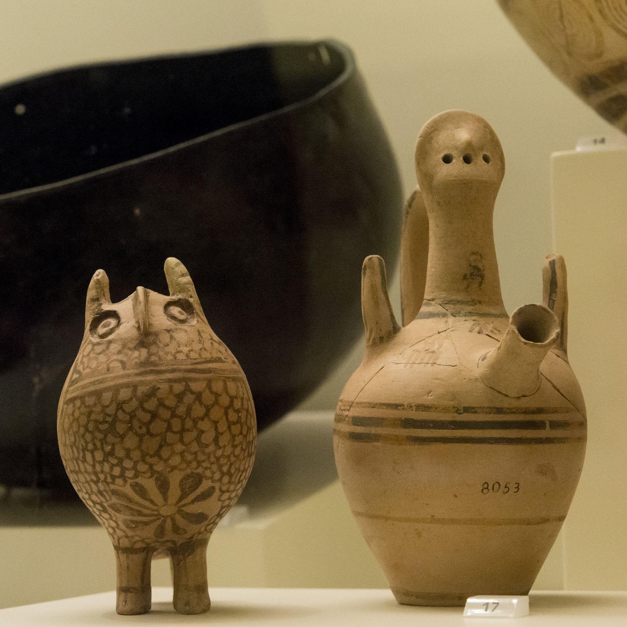 A Strange Couple Ancient Pottery Clay Owl Crete