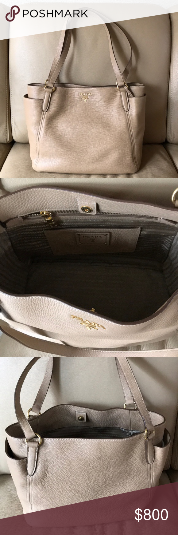 18be65f129ff Prada Shoulder Tote Bag Vitello Daino Hi all! This is an AUTHENTIC prada  purse that was purchased from the Livermore premium outlets at Prada.