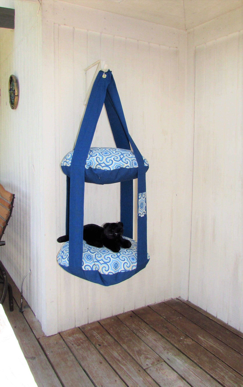 Outdoor Cat Tree, Pacific Blue U0026 Osbourne, 2 Level Kitty Cloud Cat Bed,