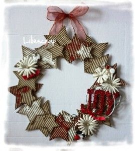 couronne toil e en carton de r cup tuto wreaths pinterest noel couronne noel et deco noel. Black Bedroom Furniture Sets. Home Design Ideas