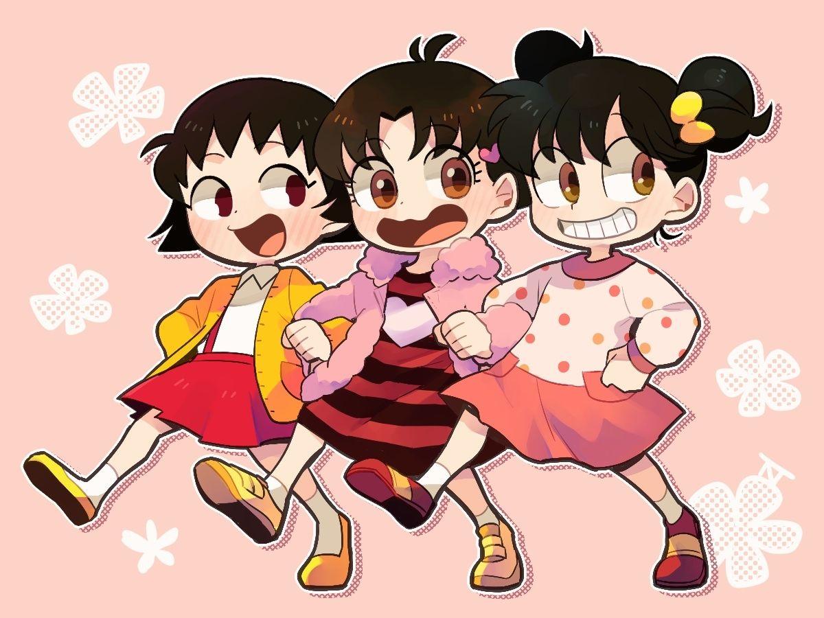Hamano Asari Yamada Miiko Sakura Momoko Asari Chan Kocchimuite Miiko Chibi Maruko Chan Fanart From Pixiv Animasi Gambar Anak