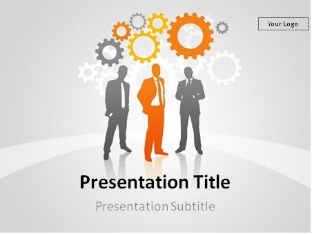 Free Businesspeople Over Gear Wheels Powerpoint Template