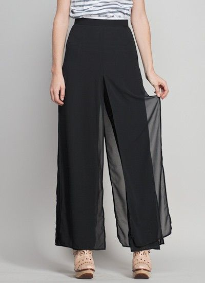 This sheer over solid pant will always stand the test of time and is one of the best looks for elegant functions for any woman.  They should be the longest possible (they are too short in the picture.)