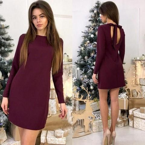 90b871c931c Women Sexy Straight Party Mini Dress Backless Bow Long Sleeve O neck Solid  Fashion Dress 2018 Spring Office Lady Women Dresses