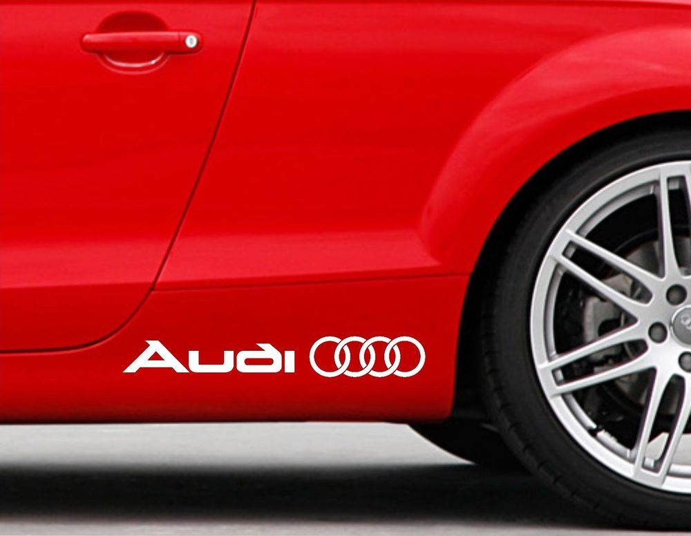 AUDI LOGO Vinyl Decal sticker Sport Racing emblem Sticker 2x side stickers