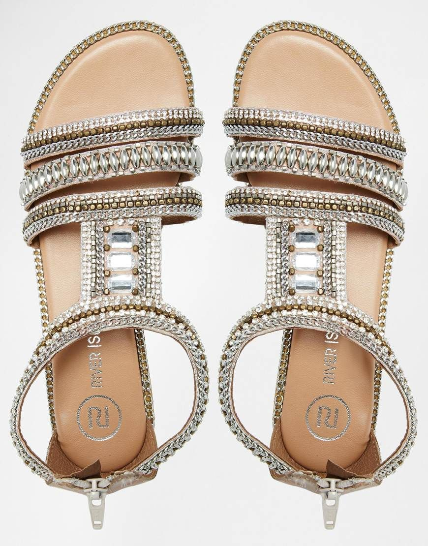 Black jelly sandals river island - Image 3 Of River Island Sead Heavily Embellished Flat Sandals
