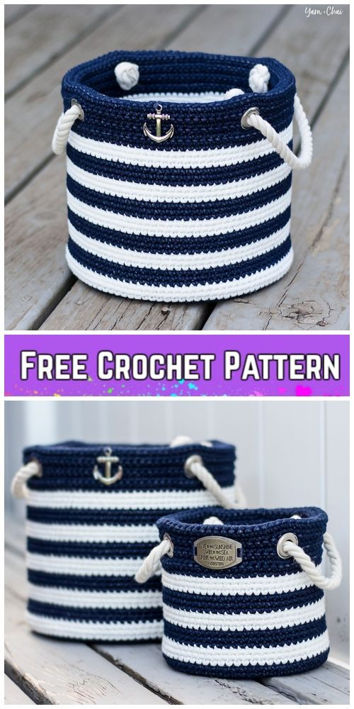Crochet Nautical Basket Free Crochet Pattern