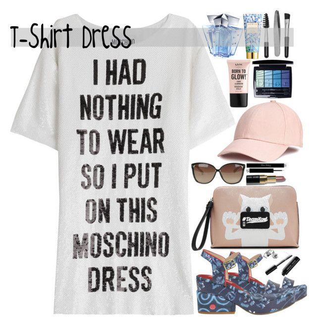 """60-Second Style: The T-Shirt Dress"" by maymimix ❤ liked on Polyvore featuring Lisa Corti, Moschino, Karl Lagerfeld, Linda Farrow, Bobbi Brown Cosmetics, NYX, Christian Dior, Thierry Mugler, AERIN and Sephora Collection"
