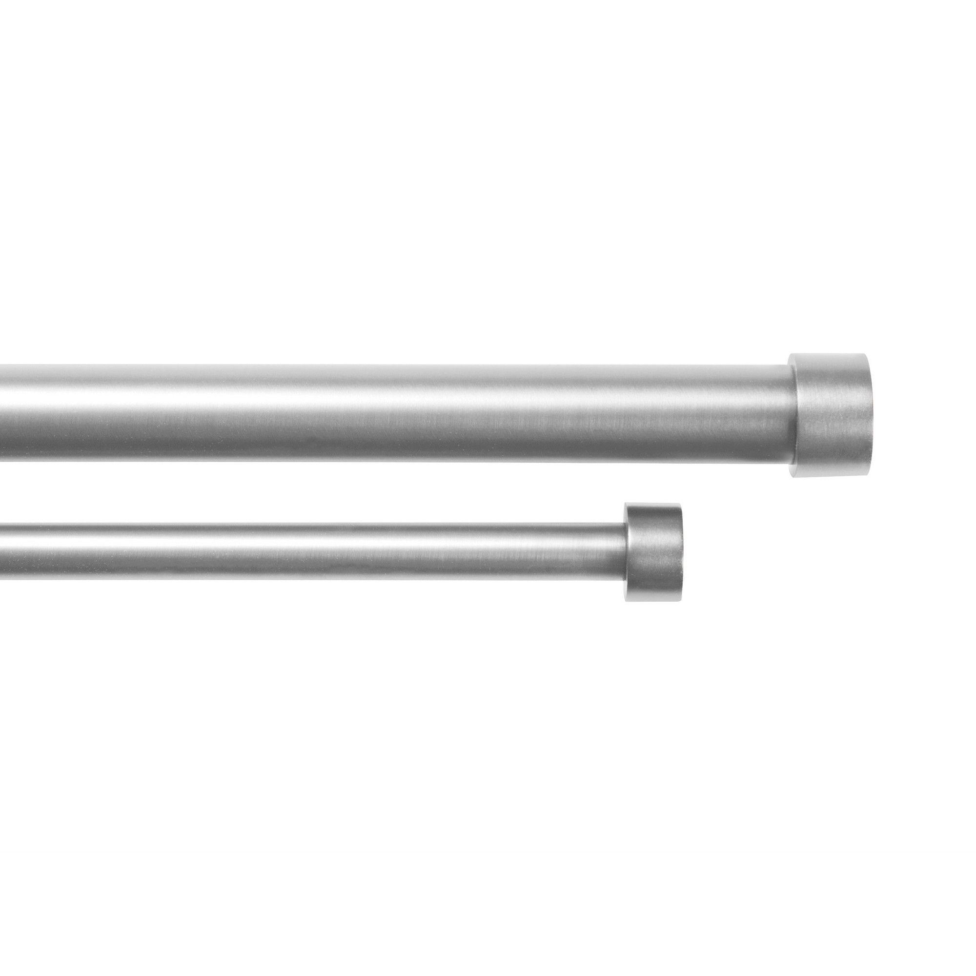 Umbra Cappa Double Drapery Rod Set Nickel 72-144, Silver