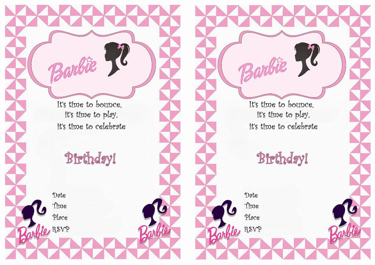 Barbie FREE Printable Birthday Party Invitations Birthday Party