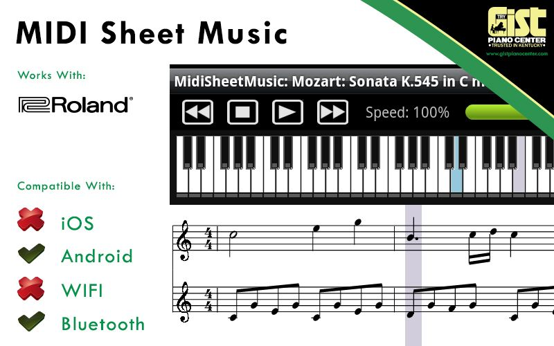 Midi Sheet Music is a free Android application for