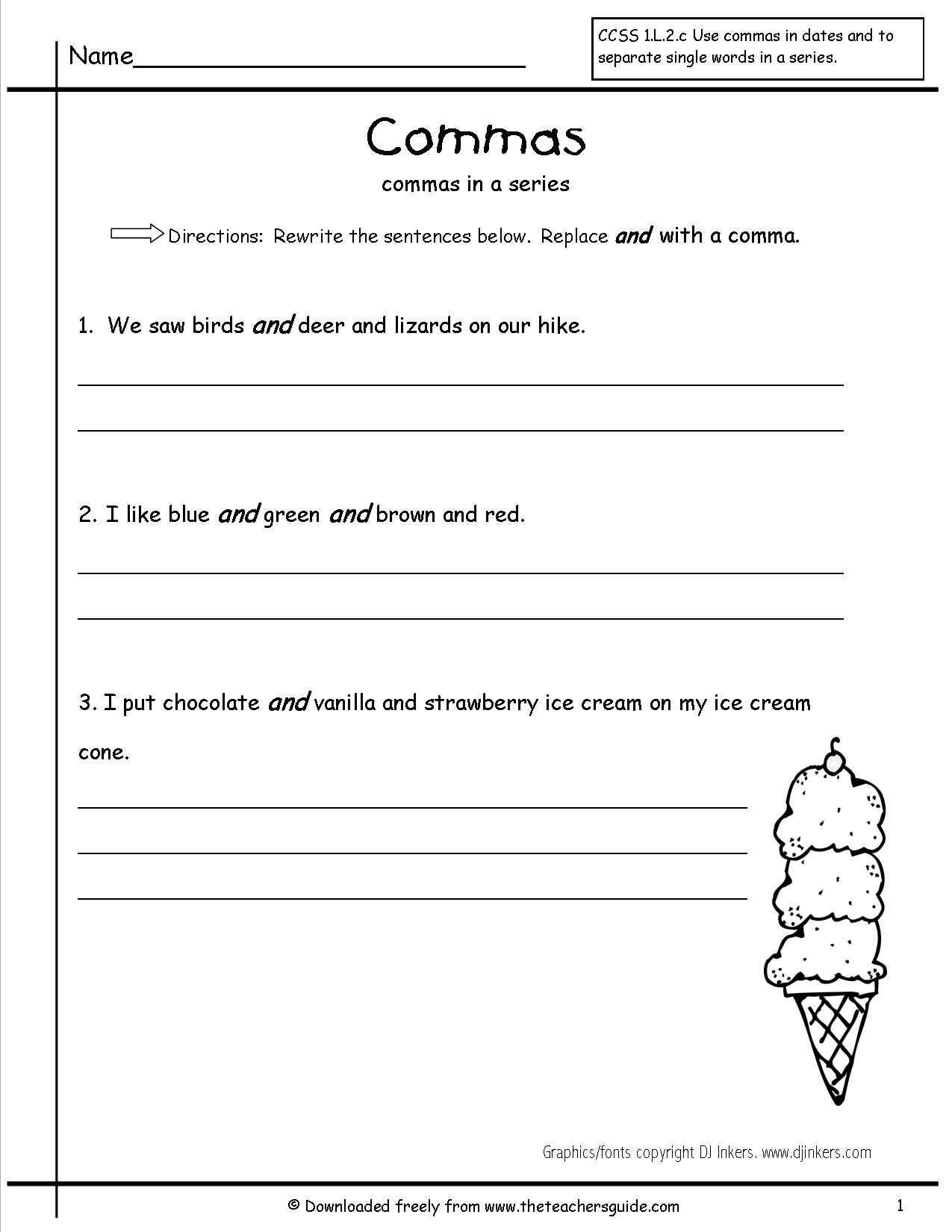 Commas Worksheet For Grade 2