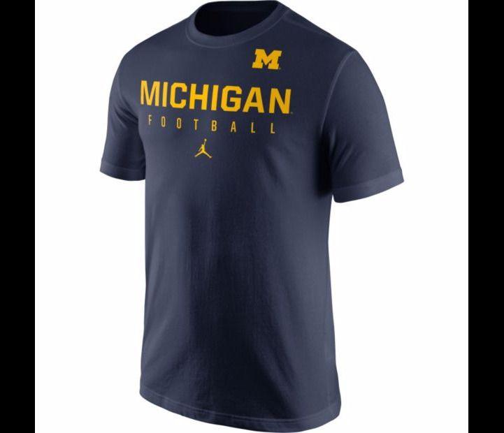 8f5429ea Nike Jordan Men's XL Michigan Wolverines Navy Blue Football Practice  T-Shirt #Nike #MichiganWolverines