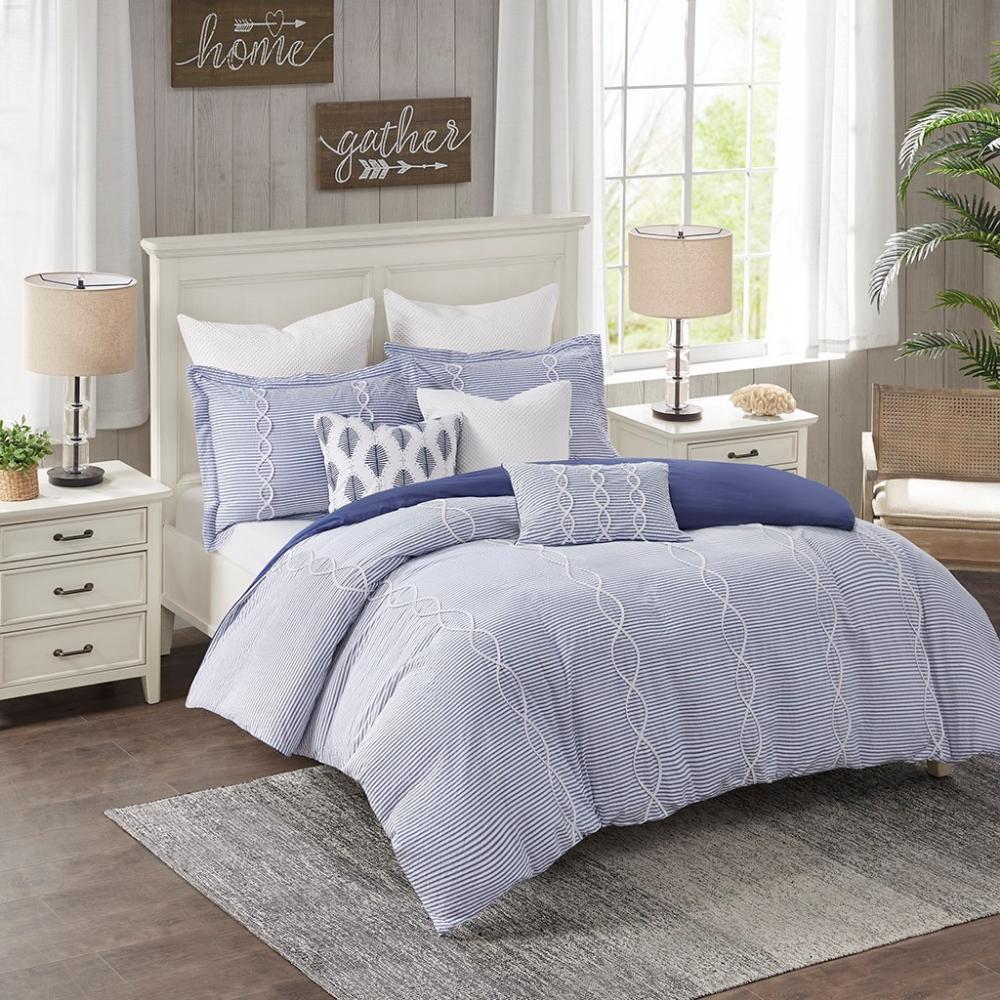 Ocean Blue Coastal Farmhouse Comforter Queen Set Blue