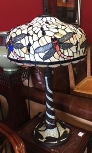 Large Tiffany Style Stained Glass Lamp Dragonfly Shade On Mosaic Base We Have Another Table Lamp And A Floor Lamp With Gorgeou Lamp Light Fixtures Glass Lamp