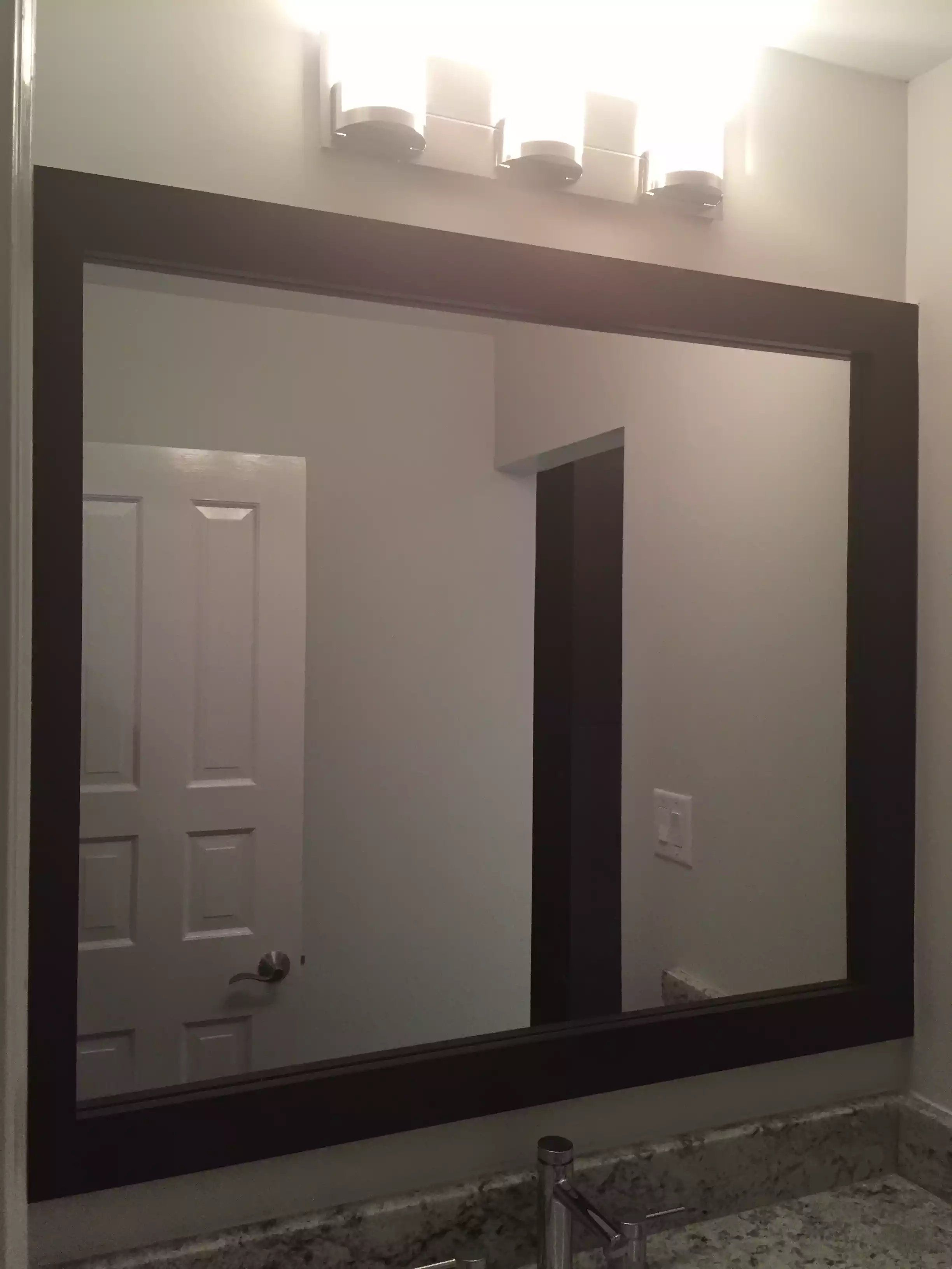 Custom Mirror Frame In Shaker Java Finish Custom Bathroom