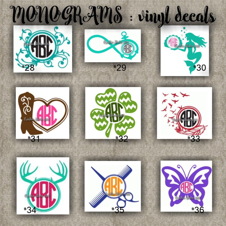 Monogram Vinyl Decals Name Initial Decal Sticker Car Decals Car Stickers Laptop Sticker Free Monogram Fonts Cricut Crafts Monogram Vinyl Decal [ 1500 x 1500 Pixel ]