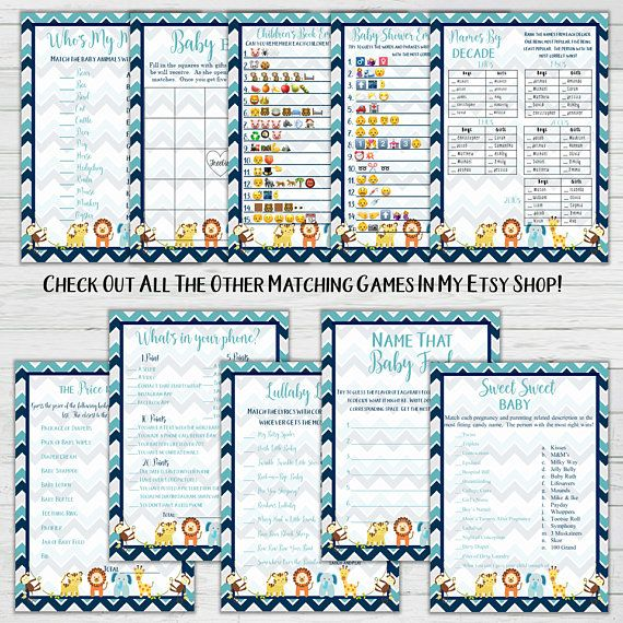 Baby Animals Matching Game – Chevron Baby Animals Baby Shower Games – Boy Baby Shower – Instant Download – Digital Printable – BONUS GAME