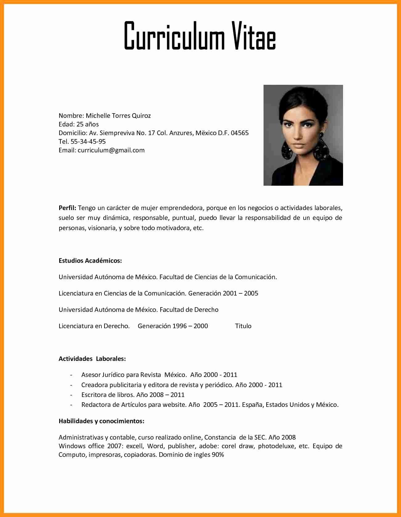 2018 Chile Ejemplos De Curriculum Vitae Hacer Curriculum