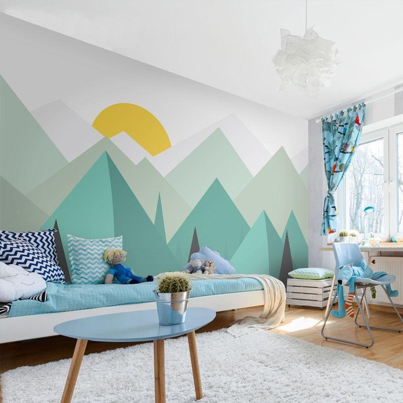 Kids Room Mural: Custom Abstract Art Mountain Wall Mural For Nursery Kids