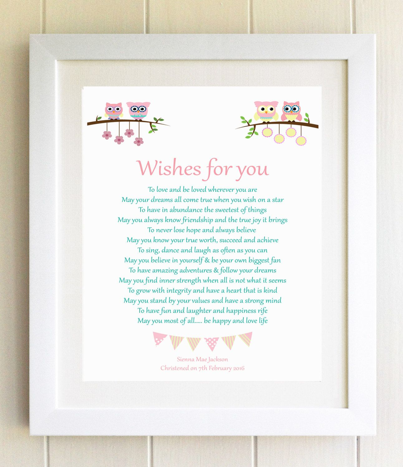 Christening Gift Plaque Naming Ceremony New Baby Gift Wishes For