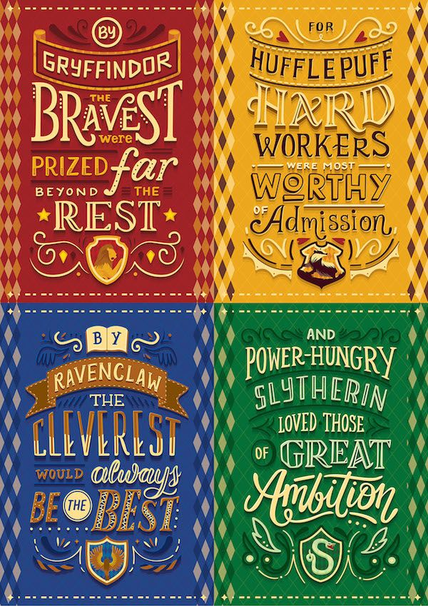 For Potterheads Gorgeous Hand Lettered Posters Of Hogwarts Houses Manifestos Designtaxi Com Harry Potter Quiz Harry Potter Houses Harry Potter Wallpaper