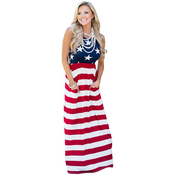 Country Love American Flag Maxi Dress 27 Liked On Polyvore