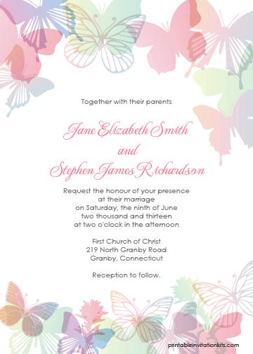 Spring Butterflies Wedding Invitation Set Invitations