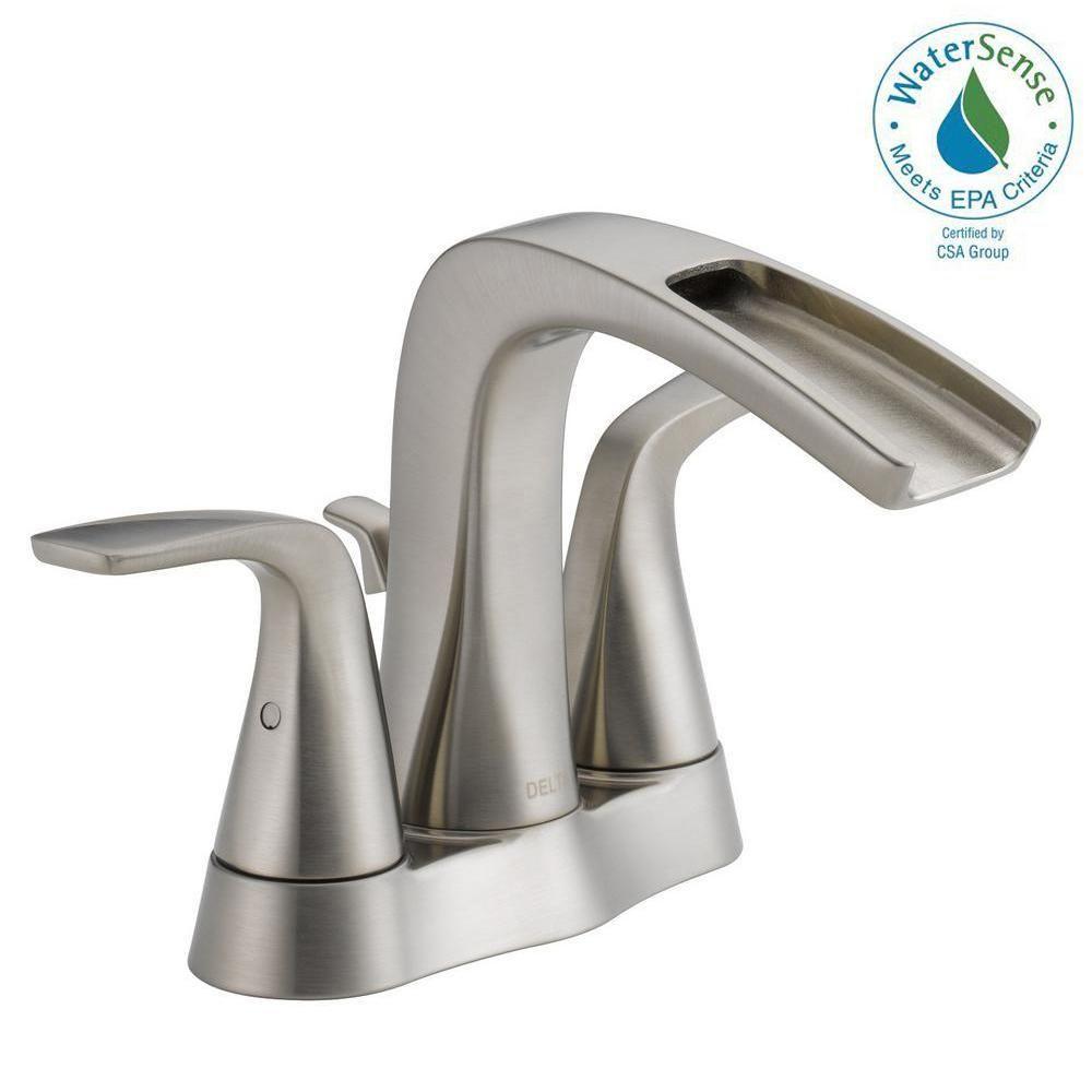 Delta Tolva 4 In Centerset 2 Handle Bathroom Faucet In Brushed Nickel Bathroomfaucets Bathroom Faucets Brushed Nickel Bathroom Faucets Cheap Bathroom Faucets