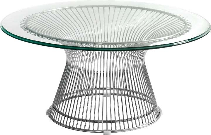 round 60\'s style coffee table   New Wire glass top tables Steel Wire ...