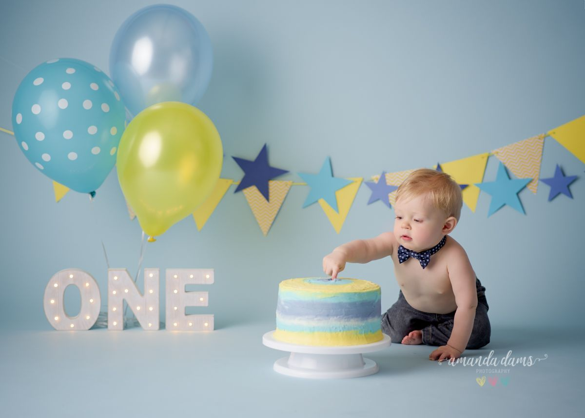 Light Blue Star Baby Boys 1st Birthday Cake Smash Outfit Handmade.prop