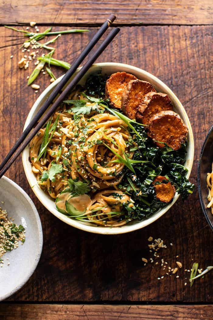 Saucy Tahini Noodles with Honey'd Sweet Potatoes. - Half Baked Harvest