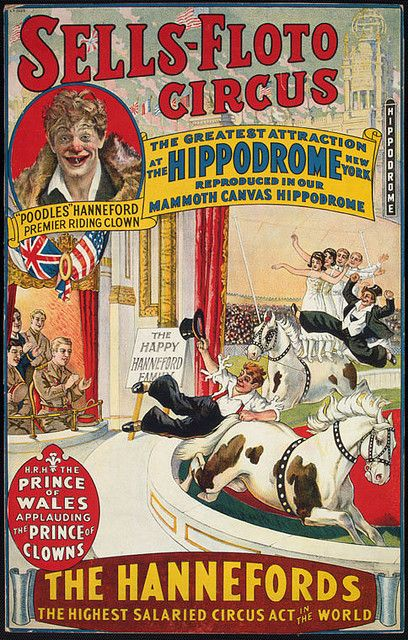 CLOWNS CIRCUS, Old Circus Advertisement with CLOWN AND BEAR ACROBAT
