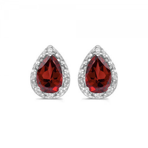 14K White Gold Pear Garnet and Diamond Earrings (1 1/2ct tgw). 14K White Gold 1.5ct Pear Shaped Garnet and Diamond  Earrings Shipped in a lovely Earring Box, from the Amanda Rose Collection by MLG Total Gem Weight: 1.7 ct tw Settings: 14K  white-gold Stones: 7x5 mm  Garnet