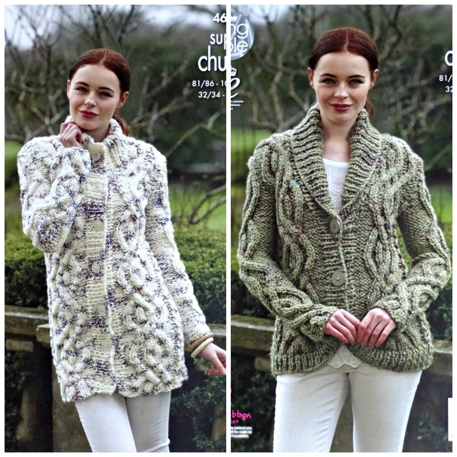 3e92667c7c96 KNITTING PATTERN Ladies Cable Coat and Jacket Super Chunky King Cole 4613  FOR SALE • £