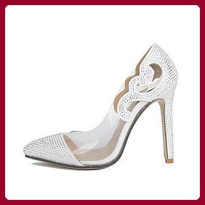 LvYuan-ggx Damen High Heels Fersenriemen PU Sommer Normal Fersenriemen Blockabsatz Weiß Schwarz 5 - 7 cm