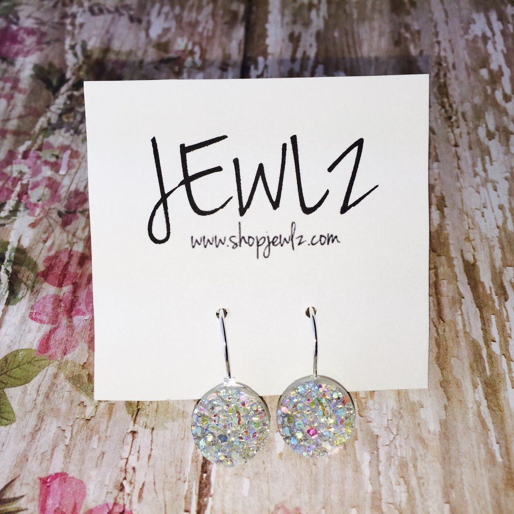 16MM IRIDESCENT FRENCH LEVER BACK DANGLES IN SILVER