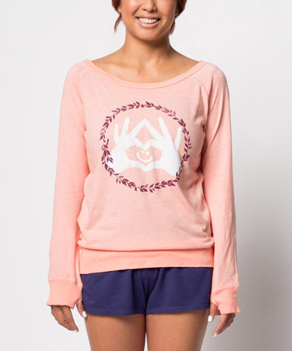 Look at this Delivering Happiness Peach Winky Love Sweatshirt on #zulily today!