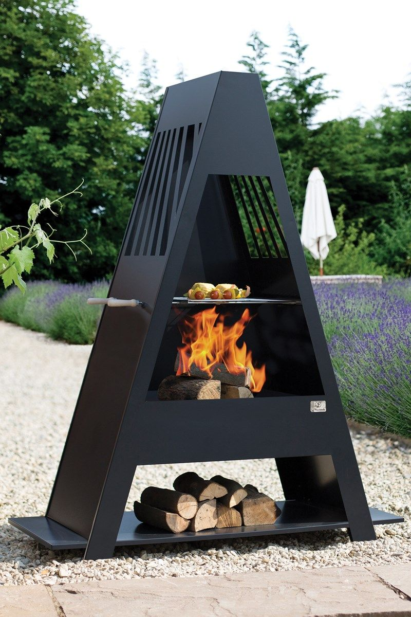 Beautiful Large Steel Chimenea With BBQ Grill And Log Rack