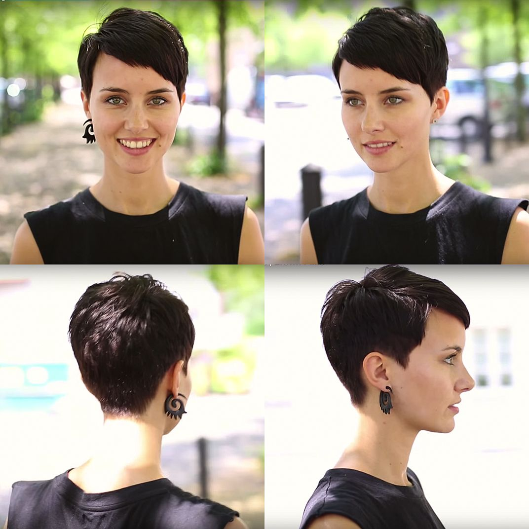 Short Brown Dark Brunette Pixie Cut Hair Fringe Classic Cool