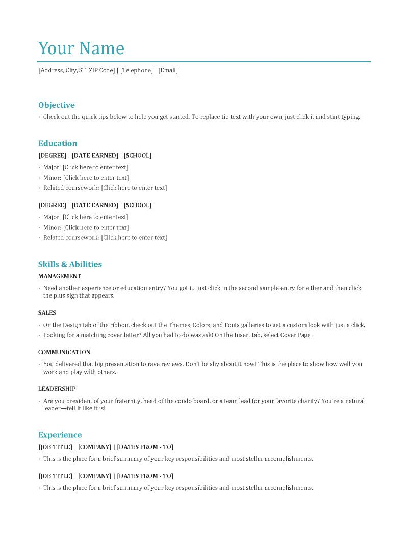 Resume Template For Work Experience  HttpWwwResumecareerInfo